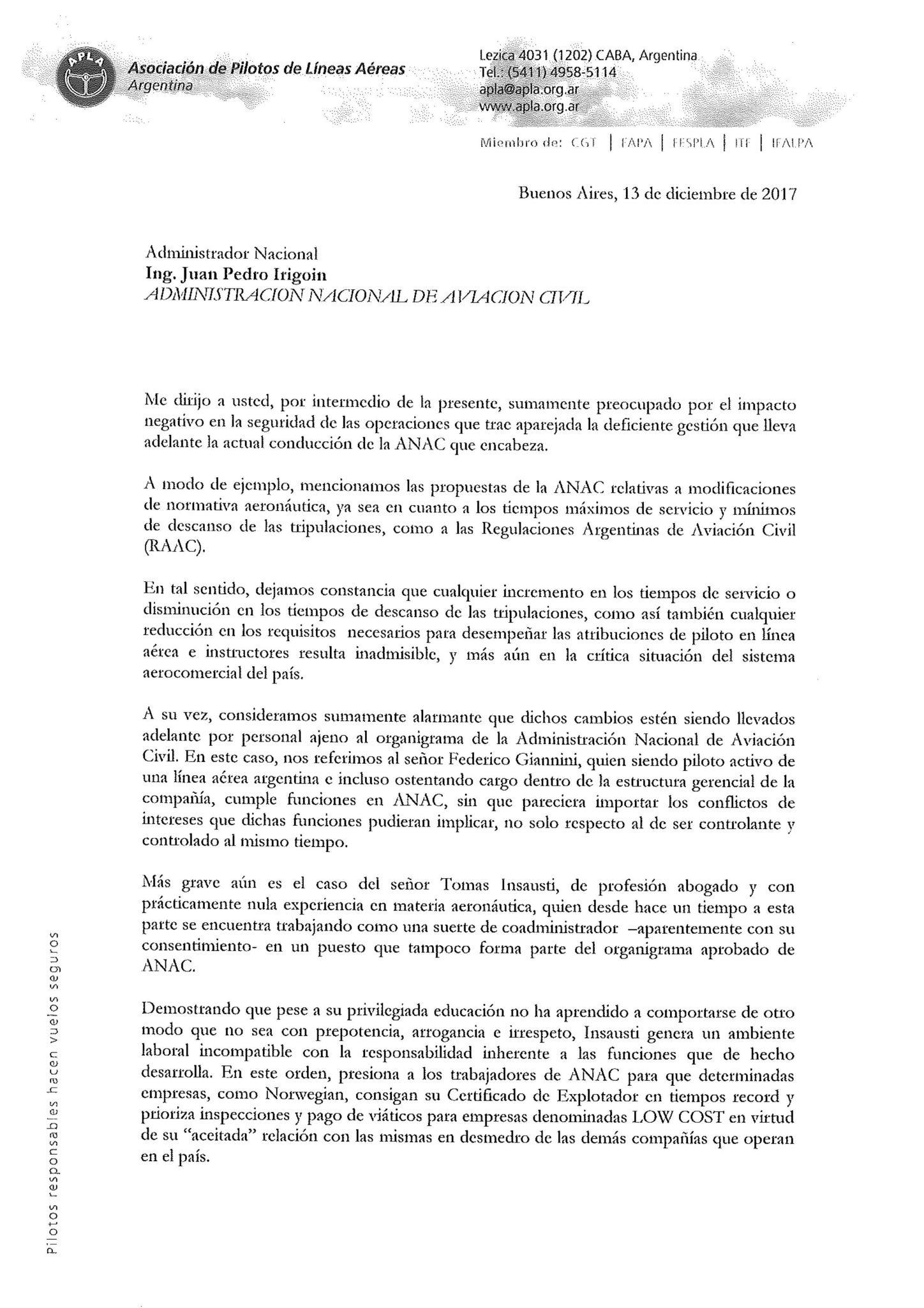 IRIGOIN NO PODÍA TERMINAR DE OTRA MANERA. RENUNCIÓ. - Aviación en ...
